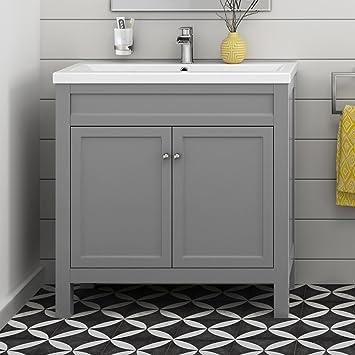 Grey Bathroom Furniture Vanity Storage Unit With Ceramic Basin Sink