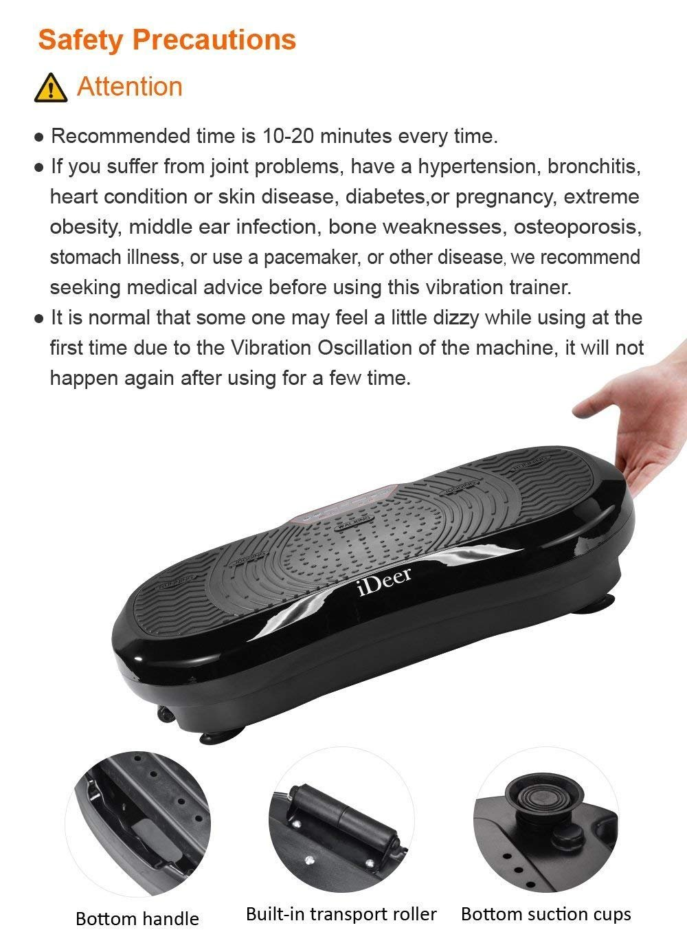 iDeer Vibration Platform Fitness Vibration Plates,Whole Body Vibration Exercise Machine w/Remote Control &Bands,Anti-Slip Fit Massage Workout Vibration Trainer Max User Weight 330lbs (Black09001) by IDEER LIFE (Image #8)