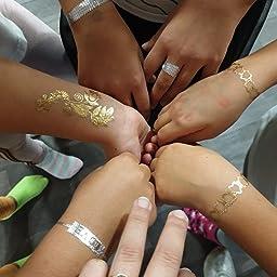 Amaza 10 Hojas de Tatuajes Adhesivos Mujer Flash Tatoos Temporales Metalicos (Multicolor): Amazon.es: Belleza