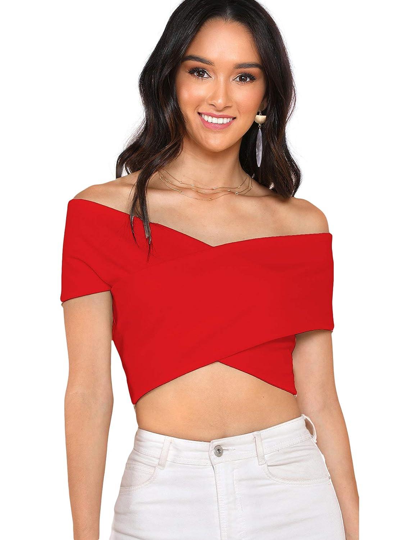 e478d2502c231 Romwe Women s Off The Shoulder V Neck Criss Cross Wrap Bardot Crop Top at  Amazon Women s Clothing store
