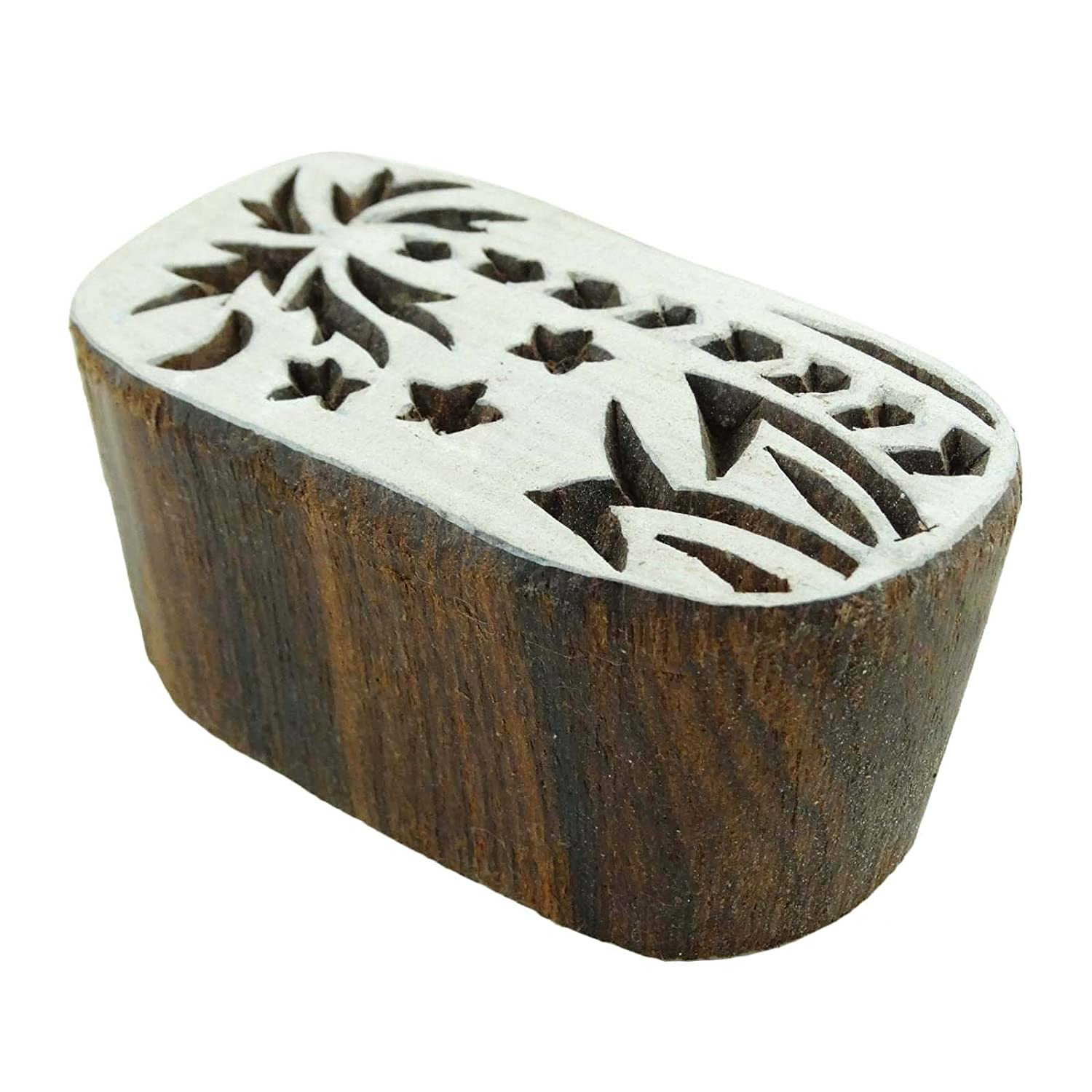 Decorative Hand Carved Wooden Stamp Indian Brown Textile Stamps Printing Block