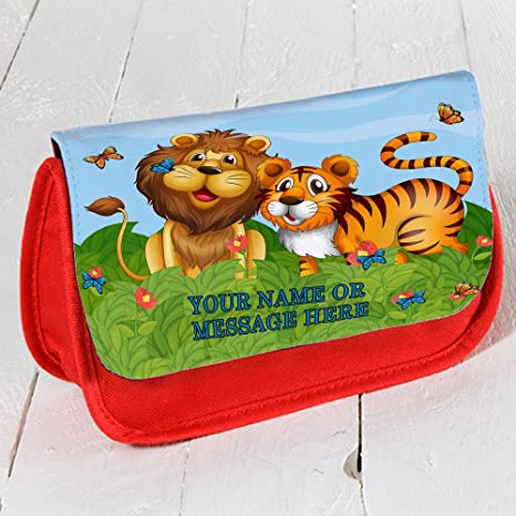 Personalizado LION & Tiger sh157 Rojo Estuche Escolar ...