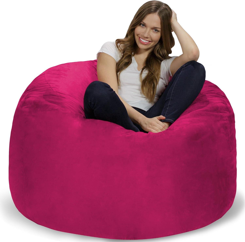 Chill Sack Bean Bag Chair: Giant 4' Memory Foam Furniture Bean Bag - Big Sofa with Soft Micro Fiber Cover - Pink