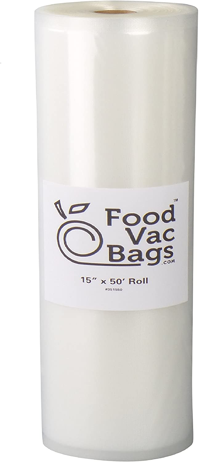 """One FoodVacBags 15"""" X 50' Roll of Vacuum Sealer Storage Bag 4 mil Poly-Nylon Material"""