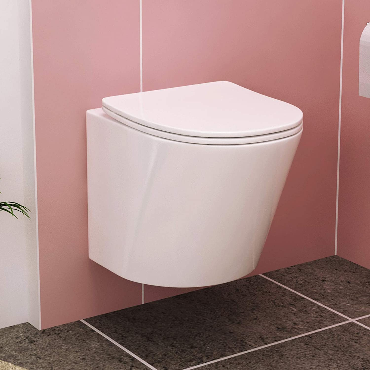 Cesar 370mm Bathroom Short Projection Wall Hung Rimless Toilet Pan with Slim Soft Close Seat
