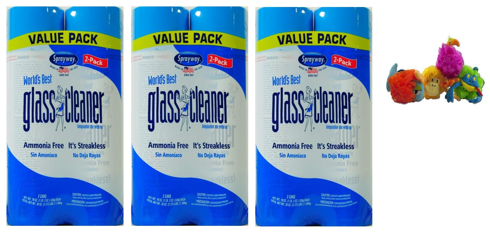 Sprayway 19 oz World's Best Glass Cleaner + FREEBIES (Pack of 3, Cleaner)