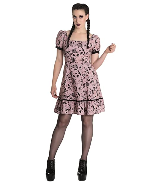 e1ef4543701 Hell Bunny Goth Punk Mini Dress Miss IVES Dusty Pink Witch Bats   Amazon.co.uk  Clothing