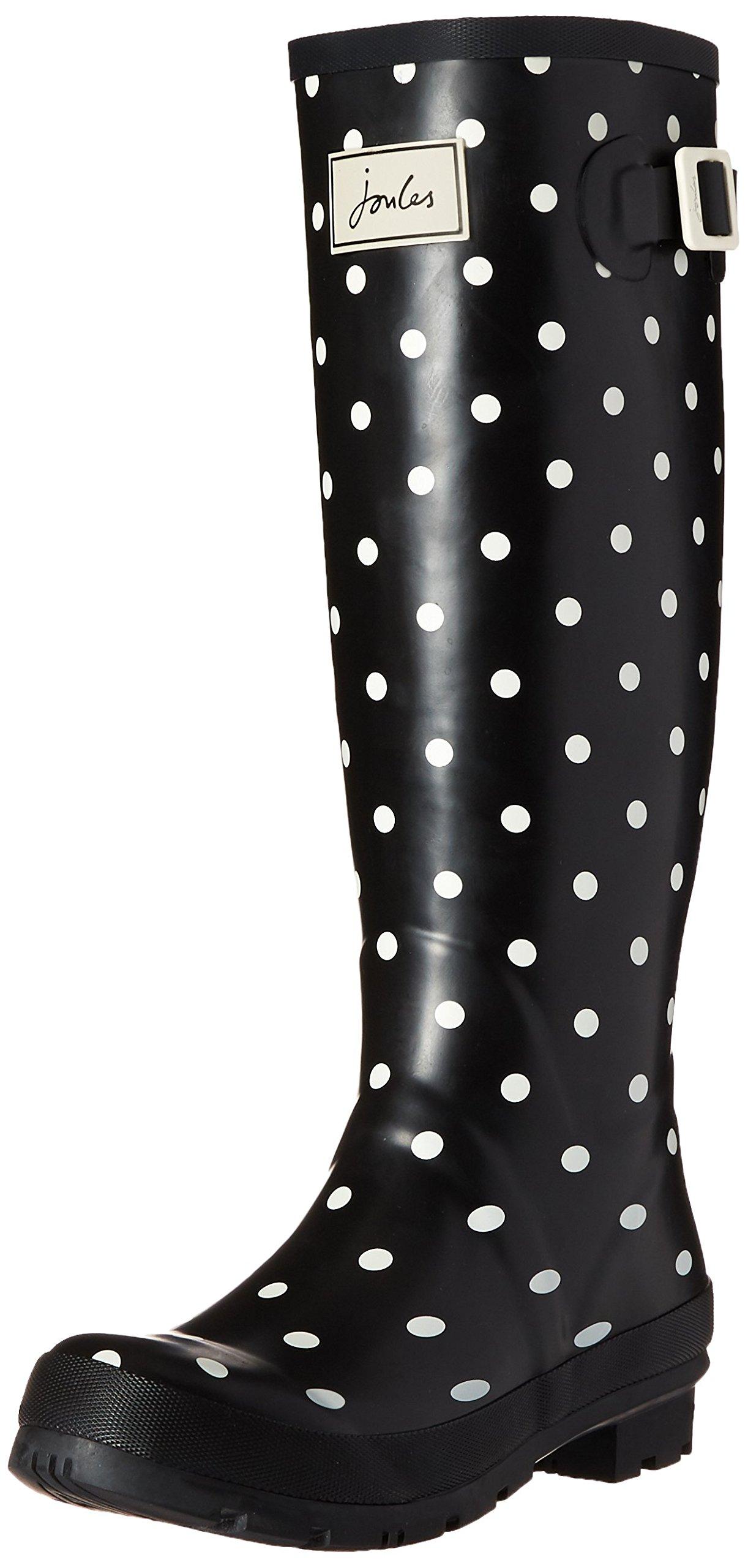Joules Women's Wellyprint Rain Boot, Cream Spot White, 8 M US