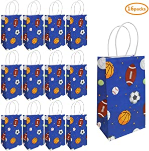 Rainmae 16 Pack Football Party Bag Gift Bag Kraft Paper Bag, Rugby Themed Candy Food Bag with Handle Party Gift Bag for Kids, Baby Shower Decoration, Suitable for Sports Themed Birthday Celebrations