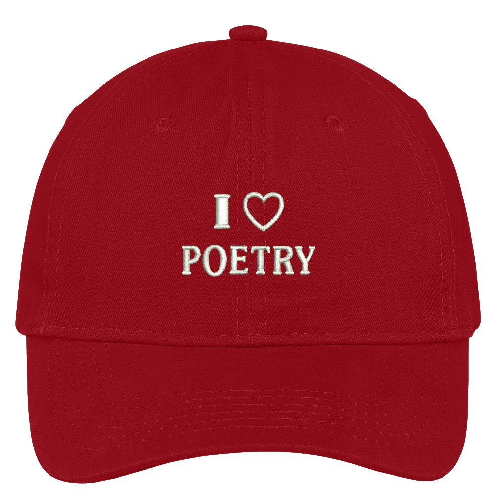 Trendy Apparel Shop I Love Poetry Embroidered Soft Cotton Low Profile Dad Hat Baseball Cap - Red