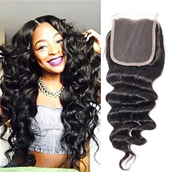 Amazon.com   RECOOL Hair Loose Deep Closure Human Hair Extensions one Piece  Lace Closure Separately for Sale Natural Color (20 inch closure)   Beauty 99a1b89b6dae