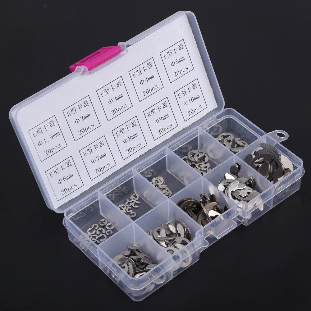 Edelstahl E-Clip E-ring Haltering Sortiment M1.5-M10,200 st/ücke,aus 304 Edelstahl gefertigte Material,mit Box und guter Korrosionsbest/ändigkeit E Clips