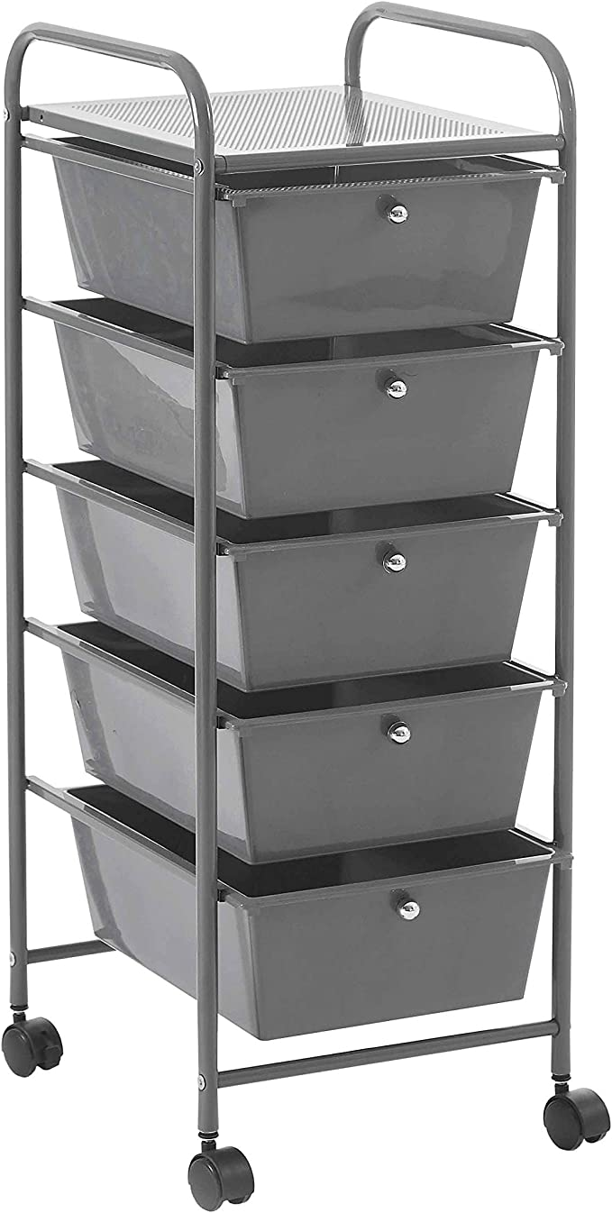 5-Drawer Mobile File Cabinet YANXUAN Steel Storage Drawer Rolling Cart Organizer Charcoal Grey