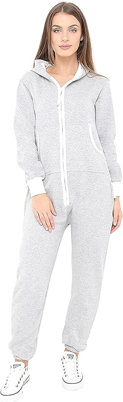 Orshoy Womens Onesies Fleece All in One Hooded Jumpsuit Sleepwear Pyjamas Ladies Zip Up Onepieces Nightwear with Pockets
