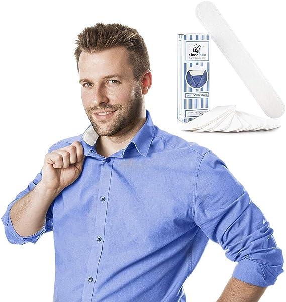 Protectores de cuello y sombreros para camisas de vestido: forro de algodón adhesivo desechable para cuellos, puños y sombreros para evitar manchas de sudor y anillos alrededor del cuello, 9.25 x 1.5