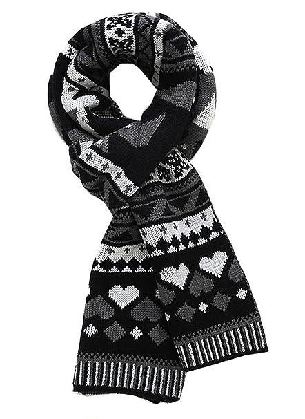 METERDE Mens Womens Fashion Jacquard Thick Rib Neck Scarf Black ...