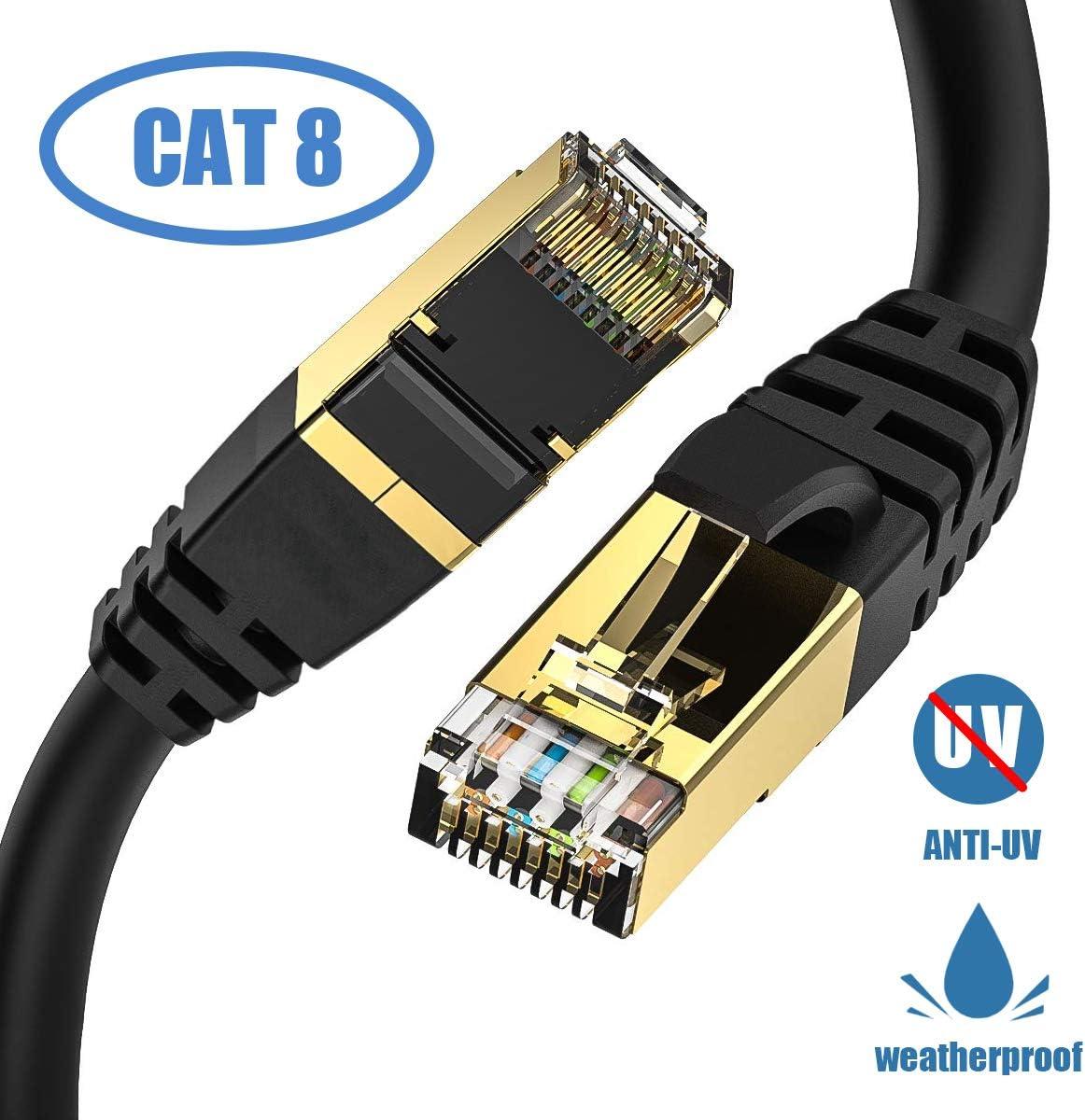 Cat8 Outdoor Kabel Iqian Ethernet High Speed 40 Gbps Rj45 Gigabit Netzwerkkabel Mit Vergoldetem Stecker Für Die Verwendung Von Datenzentren Unternehmen Smart Home Netzwerk 4 5m Schwarz Computer Zubehör