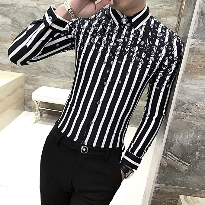 MKDLJY Camisas 2019 Camisa Casual Hombres Camisa de Manga Larga a Rayas Vestido Slim Fit Camisas de Esmoquin Hombre Night Club Camisa de Trabajo: Amazon.es: Deportes y aire libre
