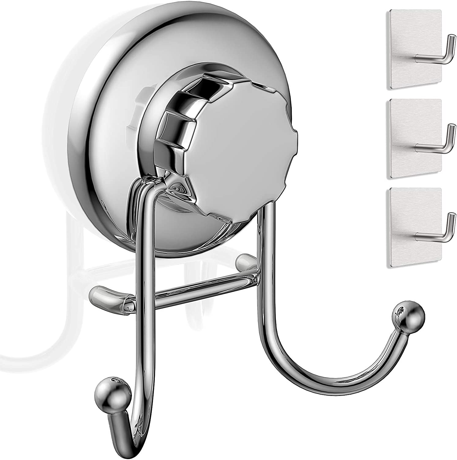 WILLMAKER Vacuum Suction Cup Hooks, Towel Hooks for Bathrooms, Rustproof Stainless Steel Reusable Heavy Duty Shower Wall Double Hooks Easy to Hanger Kitchen, with 3 Pack Adhesive Hooks (Silver)