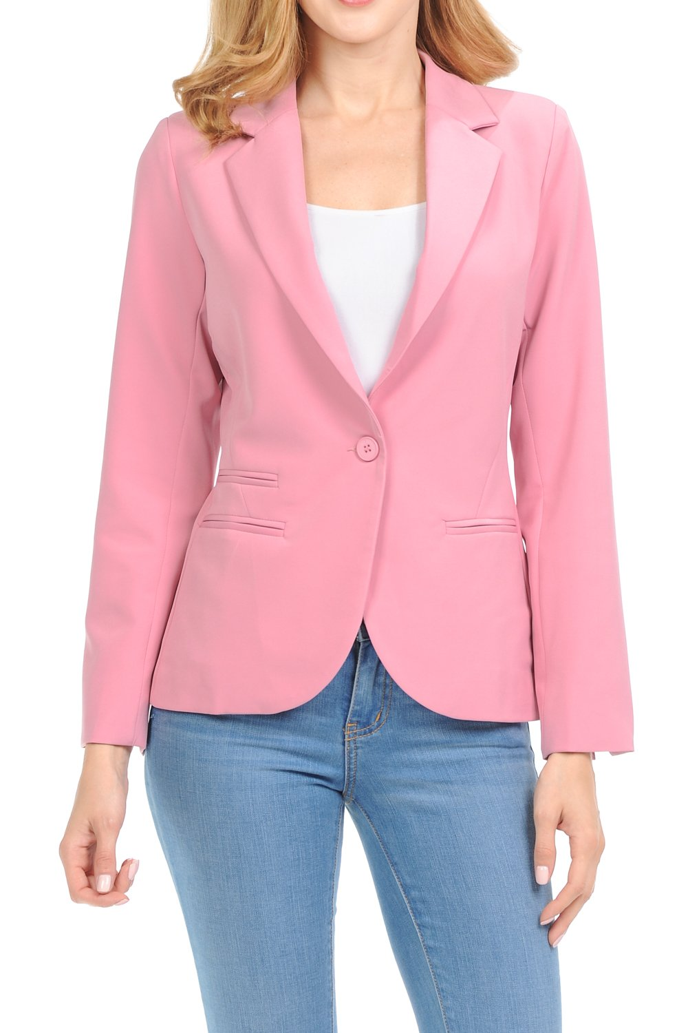 Auliné Collection Women's Color Work Office Long Sleeve Button Lined Blazer Rose XL