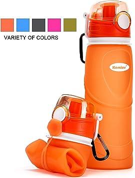 Oferta amazon: Kemier Botellas de Agua de Silicona Plegables–750ML,Calidad Médica Libre de BPA,Aprobado por FDA.Puede Enrollarse Hasta 26 oz,Botellas de Agua Plegables a Prueba de Fugas Para el Aire Libre y Deportes
