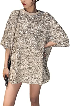 Multift Women's Sparkling Shiny Tunic Top Casual Loose T Shirt Blouse