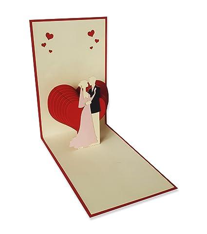 YOKARTA Pop-Up Tarjetas Originales de Boda y Amor | Tarjeta de Felicitación 3D de Boda con Sobre | para Agradecimiento Invitaciones Regalos de Boda ...