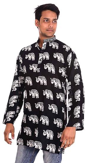 1fcf1201f1686 Indian 100% Cotton 10 Pcs Lot Elephant Print Men s Shirt Kurta Plus Size  loose fit