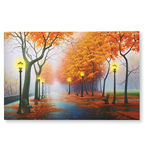 Amazon.com: Autumn in the Park LED Lighted Canvas Wall Art: Home ...