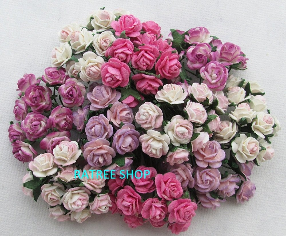Amazon 100 Pcs Mini Rose Mixed Pink Color Mulberry Paper Flower