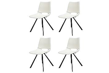 Esszimmerstühle modern weiß  CANETT FURNITURE Coronas Stuhl 4er Set Esszimmerstühle Weiß Modern ...