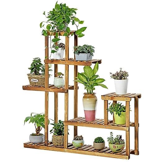 puesto de plantas Soporte de plantas de madera de seis pisos ...