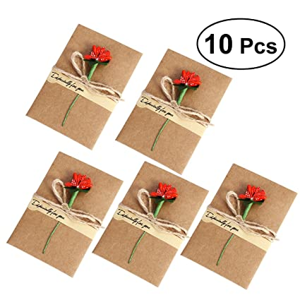 nuolux 10pcs vintage kraft paper greeting cards with handmade dried flower thank you cards for mom