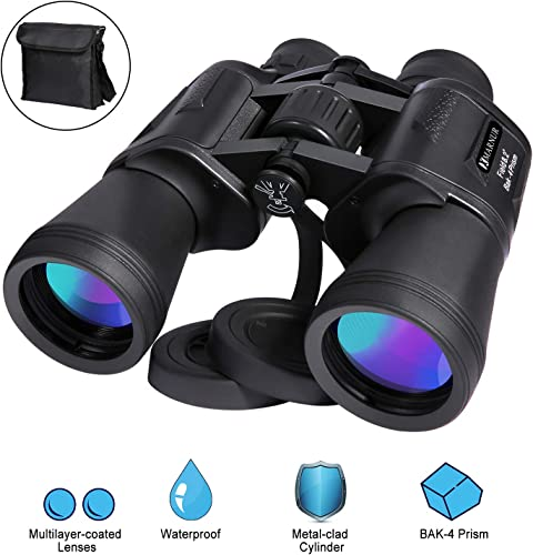 12 x 50 Binoculars for Adults Kids Professional HD Binoculars Compact Lightweight for Birds Watching Hunting Concerts Outdoor Sports Games Travel with Clear Vision Strap Carrying Bag