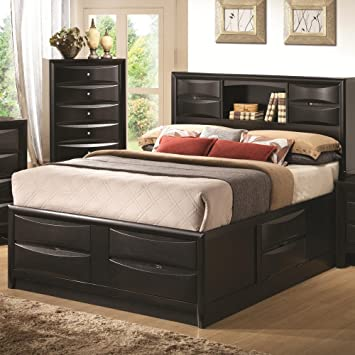 coaster queen size storage bed in black with bookshelf loft frame ikea walmart frames metal