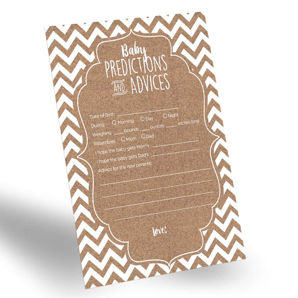 60-Pack Gender Neutral Baby Prediction Cards for Gender Reveal Party Rustic Baby Prediction and Advice Card for New Parents Fun Gender-Neutral Prediction Cards for Baby Shower