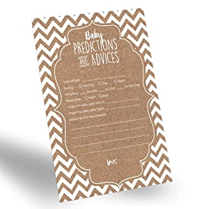 60-Pack Gender Neutral Baby Prediction Cards for Gender Reveal Party, Rustic Baby Prediction and Advice Card for New Parents, Fun Gender-Neutral Prediction Cards for Baby Shower
