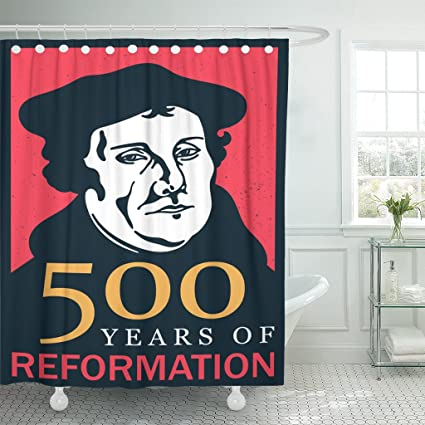 853b60bb289 Emvency Shower Curtain Anniversary Portrait of Martin Luther 1483 1546 500  Years Reformation Celebration Badge Waterproof