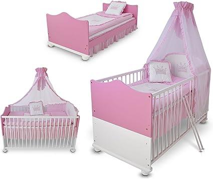 Cuna escalable cuna cama Junior de madera princesa 140 x 70 cm + colchón + somier + Set de cama + Cielo