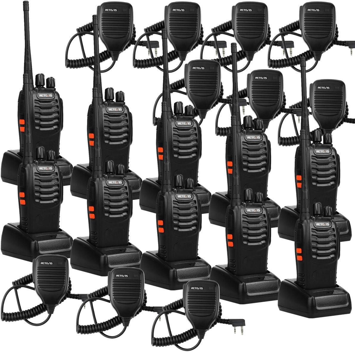 Retevis H-777 Walkie Talkie 16CH 2 Way Radio Handheld Radio VOX Radio Long Range Two Way Radio with Speaker Mic 10 Pack