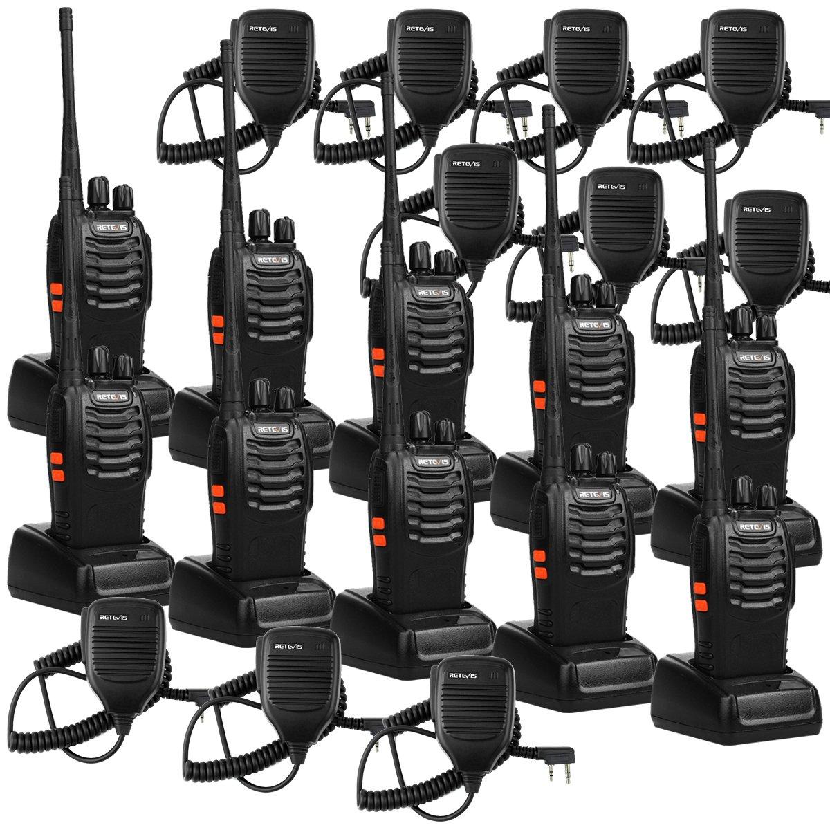 Retevis H-777 Walkie Talkie 16CH UHF Radio 2 Way Radio Handheld Radio VOX Radio Long Range Two Way Radio with Speaker Mic 10 Pack