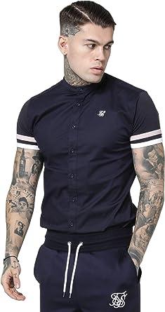 Camisa Siksilk Sprint Grandad Shirt Azul Marino, Rosa y Blanca: Amazon.es: Ropa y accesorios
