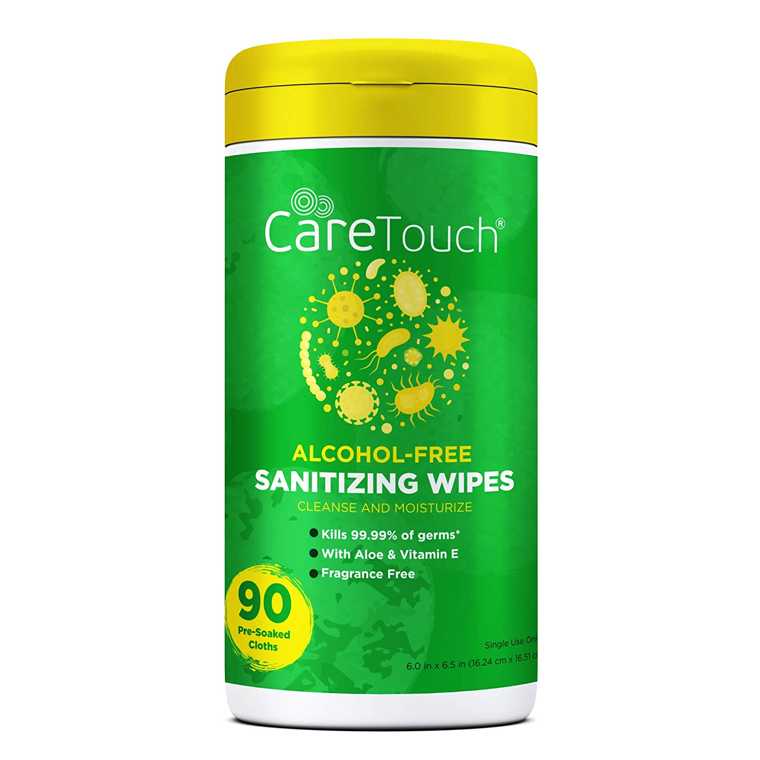 Care Touch Alcohol-Free Hand Sanitizing Wipes - 1 Canister | 90 Antibacterial Wipes with Vitamin E + Aloe Vera | Made in The USA