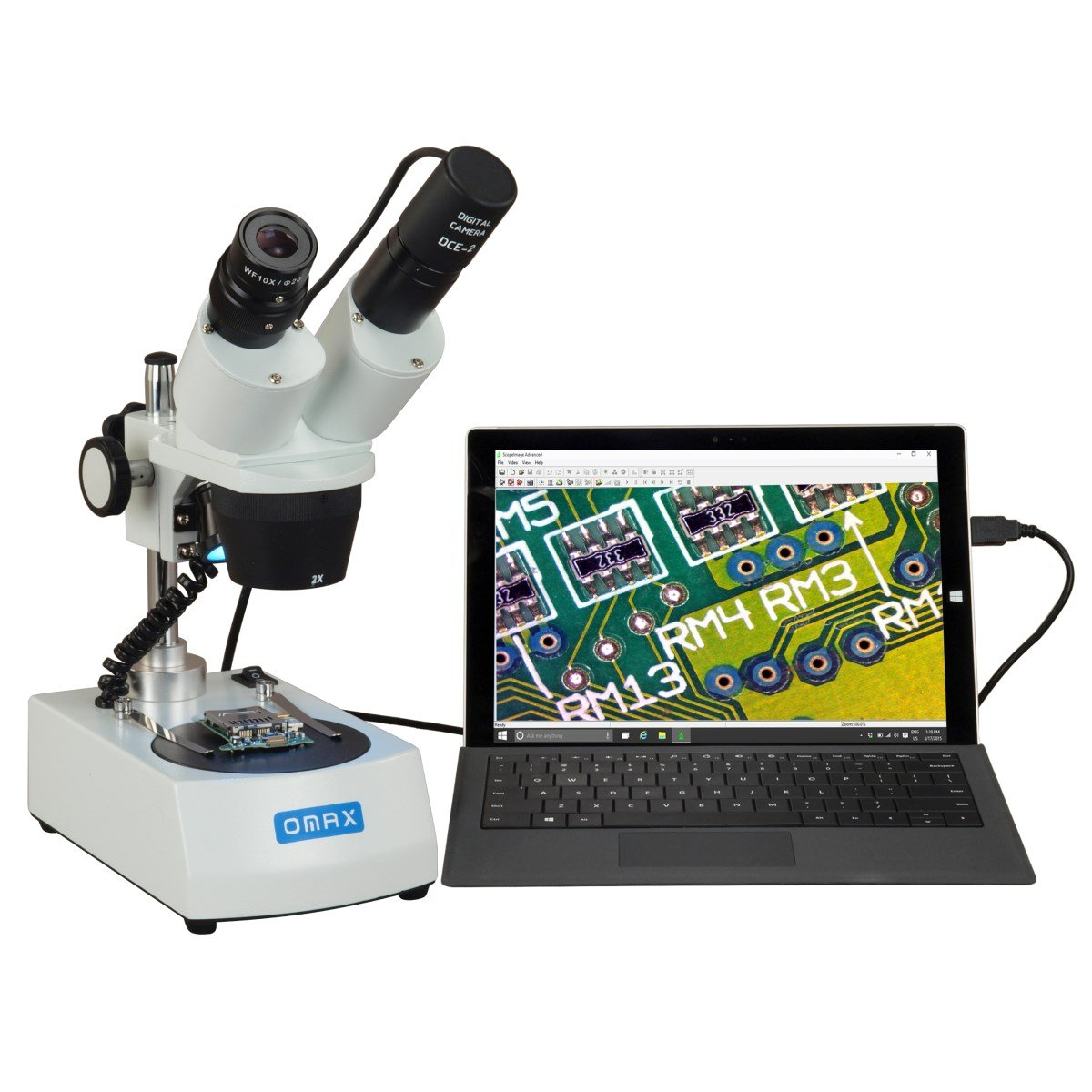 OMAX 20X-40X Cordless Dual LED Lights Stereo Binocular Microscope with USB Digital Camera G223E-C02