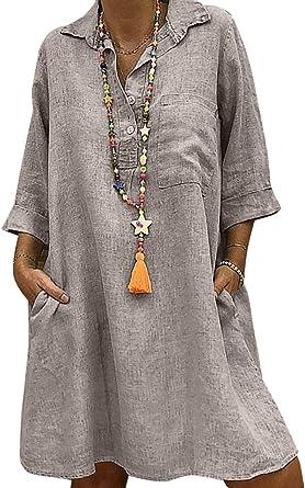 Yulinge Vestidos Casuales De Mujer Túnica De Algodón De Lino Vintage Cuello En V Más Vestido Midi De Tamaño: Amazon.es: Ropa y accesorios
