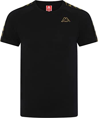 c72d6ad0199 Kappa Black & Gold Banda Coen Slim T-Shirt: Amazon.co.uk: Sports & Outdoors