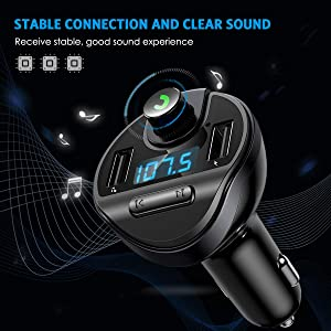 Criacr (Upgraded Version) Bluetooth FM Transmitter for Car, Wireless FM Radio Transmitter Adapter Car Kit, Dual USB Charging Ports, Hands Free Calling