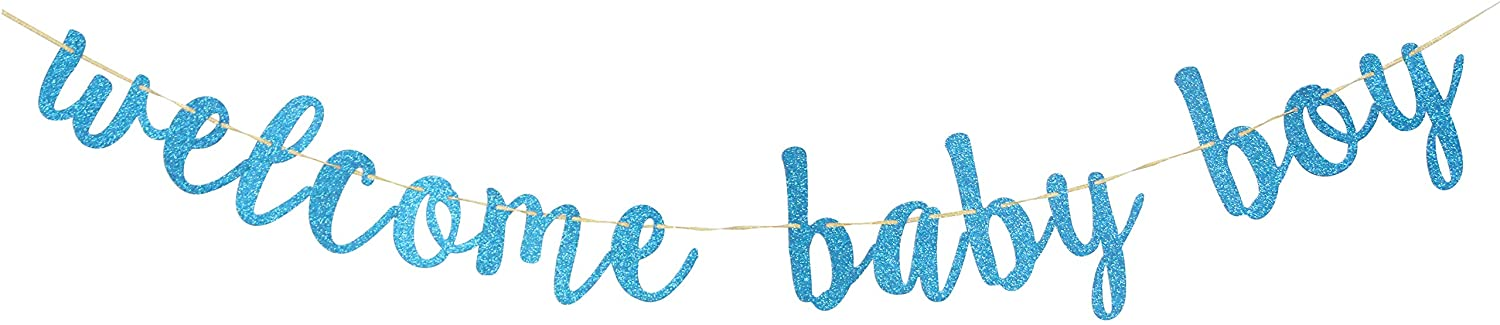Welcome Baby Boy Banner Blue Glitter A Litter Prince Baby Shower Gender Reveal Pregnant AF Baby 1st 2nd Birthday Party Decorations Party Supplies