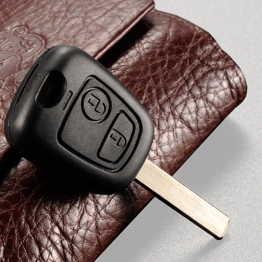 DaoRier 2 botones Carcasa para llave plegables llaves en blanco auto Mandos a distancia Negro Radio Llave para Peugeot 107 206 207 307 308 407 507 (2 ...