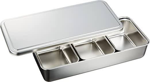 Amazon.co.jp : 和平フレイズ 保存容器 薬味 調味料入れバット 味道 3ツ入 蓋付 18-8ステンレス AD-376 : ホーム&キッチン